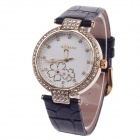 AODASI 4300L Women's Fashionable Analog Quartz Wrist Watch w/ Rhinestone Decoration - Black + Gold