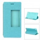 Protective PU + PC Smart Case w/ Stand, Window for Huawei Ascend P7 - Blue