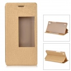Protective PU + PC Smart Case w/ Stand, Window for Huawei Ascend P7 - Golden