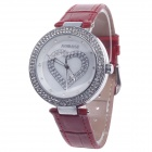 AODASI 4274G  Women's Elegant Heart ShapeQuartz Wrist Watch w/ Rhinestone Decoration - Red + Silver
