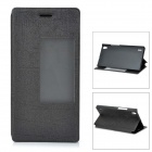 Protective PU + PC Smart Case w/ Stand, Window for Huawei Ascend P7 - Black