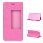 Protective PU + PC Smart Case w/ Stand, Window for Huawei Ascend P7 - Deep Pink