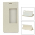 Protective PU + PC Smart Case w/ Stand, Window for Huawei Ascend P7 - White