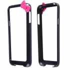 Fashionable Protective PC Bumper Frame Case w/ Bow for Samsung Galaxy S5 I9600 - Black + Deep Pink