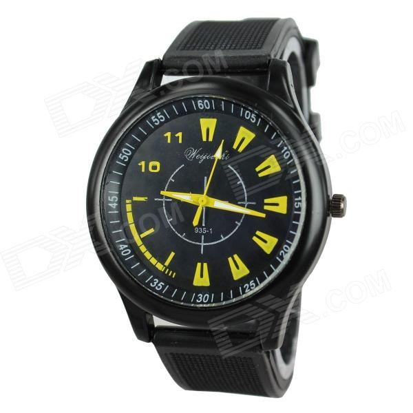 Men's Cool Car Instrument Style Black Case Silicone Band Quartz Analog Wrist Watch - Black + Yellow