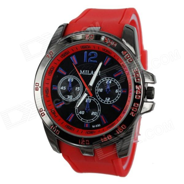 MILAQI Men's Sports Black Case Rubber Band Analog Quartz Wrist Watch - Red