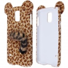 Sexy Leopard Print Pattern Protective Plastic Back Case w/ Tail for Samsung Galaxy S5