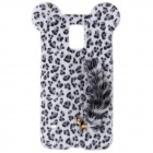 Sexy Leopard Print Pattern Protective Plastic Back Case w/Tail for Samsung Galaxy S5 - White + Black