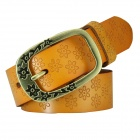 N79 Women's Split Leather Vintage Carved Pin Buckle Belt - Camel