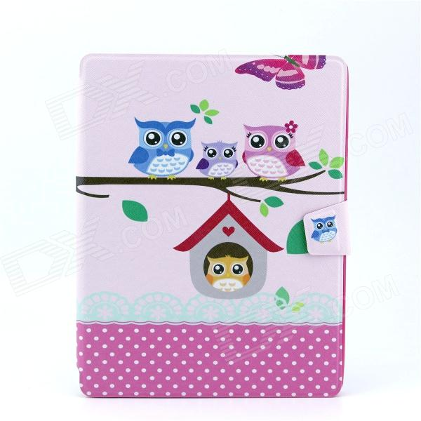 Owls Family Pattern PU Leather Full Body Case with Stand for IPAD 2 / 3 / 4 lichee pattern protective pu pc full body case w stand for ipad air 2 3 4 pink
