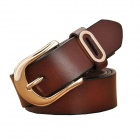 N79 Women's Split Leather Vintage Carved Pin Buckle Belt - Brown