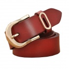 N79 Women's Split Leather Vintage Carved Pin Buckle Belt - Red