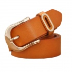 N79 Women's Split Leather Vintage Carved Pin Buckle Belt - Light Brown