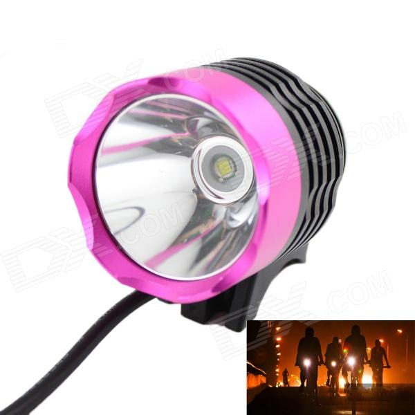 KINFIRE 7.2~8.4V 600lm 3-Mode White Bicycle Light w/ Cree XM-L T6 - Pink + Black 600lm 3 mode white bicycle headlamp w cree xm l t6 black silver 4 x 18650