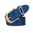 N79 Women's Split Leather Vintage Carved Pin Buckle Belt - Blue