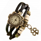 ZIQIAO Stylish Charm Bracelet Style Analog Quartz Wristwatch - Black