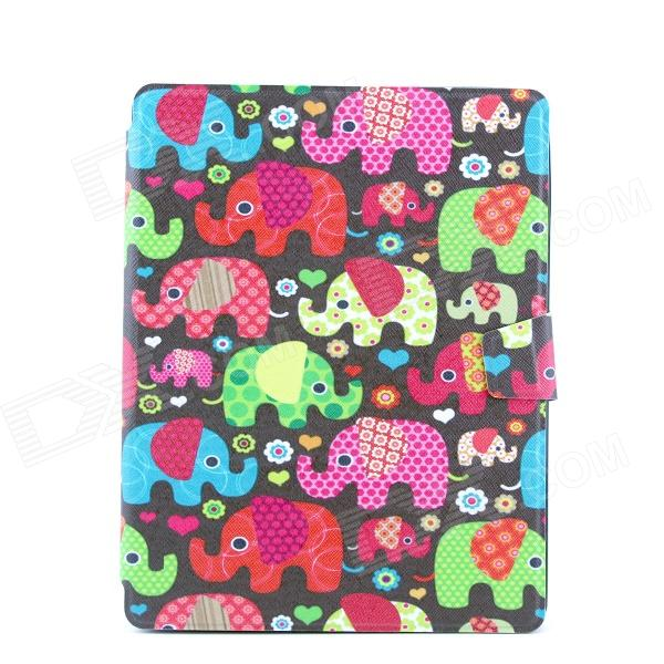 Colorful Elephants Pattern PU Leather Full Body Case with Stand for IPAD 2 / 3 / 4 ipad 4 in 1 photo lens