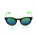 SYS0088 Classic Round Small Lens Ultralight PC Sunglasses / Myopic Glasses Frame - Black + Green