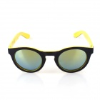 SYS0088 Classic Round Small Lens Ultralight PC Sunglasses / Myopic Glasses Frame - Black + Yellow