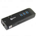 WBTUO 3-Port USB 3.0 HUB w/ 1-Port Ethernet RJ45 LAN - Black