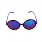 SYS0088 Classic Round Small Lens Ultralight PC Sunglasses / Myopic Glasses Frame - Black + Purple