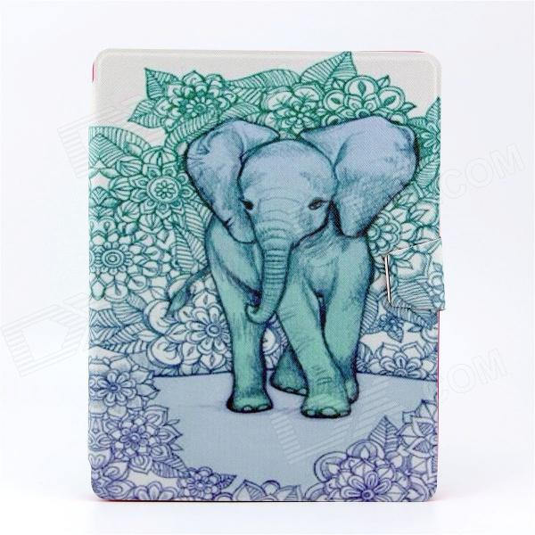 Elephant Pattern PU Leather Full Body Case with Stand for IPAD 2 / 3 / 4 multi function pu leather case vent holes sound amplifier for ipad 3 4 orange