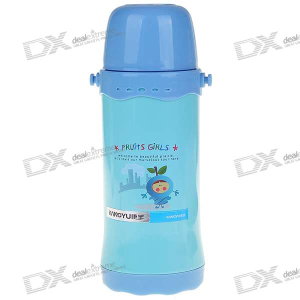 Cute Stainless Steel Vacuum Bottle with Cup and Strap for Child - Blue (600ml) updated xiaomi kiss kiss fish 525ml function cook egg tea nutrition cup with oled temperature screen stainless steel vacuum cup