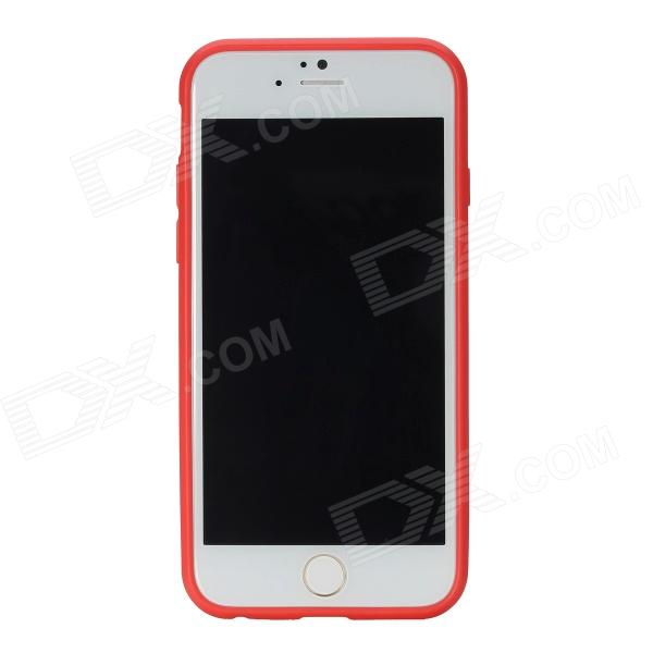 ROCK RK-ip6E Transparent PC Back Shell w/ Soft Edging Case for IPHONE 6 - Red kajsa carbon fiber aluminum coated pc back shell for iphone 7 4 7 gold
