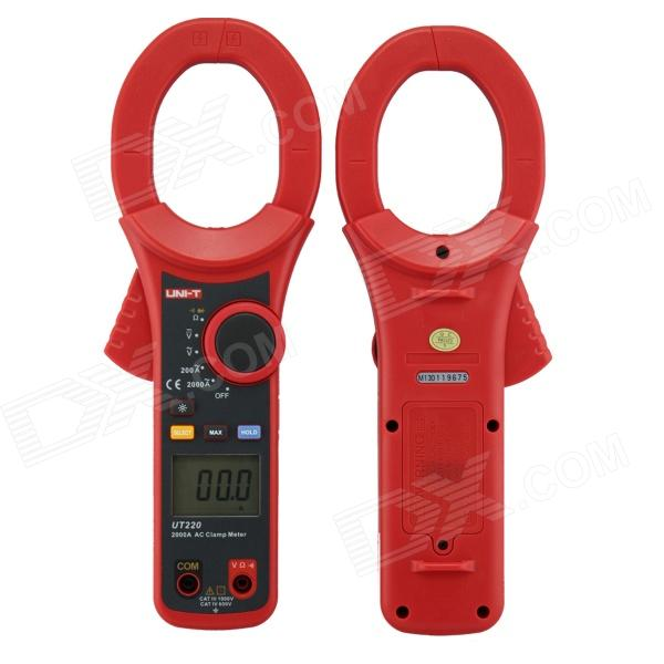 UNI-T UT220 Handheld 2 LCD Digital Clamp Multimeter - Red + Grey (1 x 6LF22 / Max. 2000)