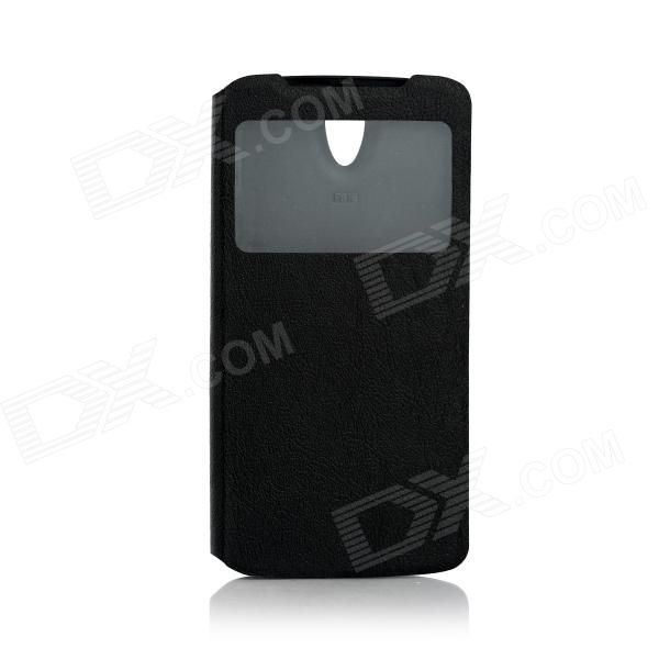 DOOGEE Protective PU Leather + Plastic Flip Open Case Cover for DOOGEE MINT DG330 - Black doogee protective pu leather case for doogee dg330 black