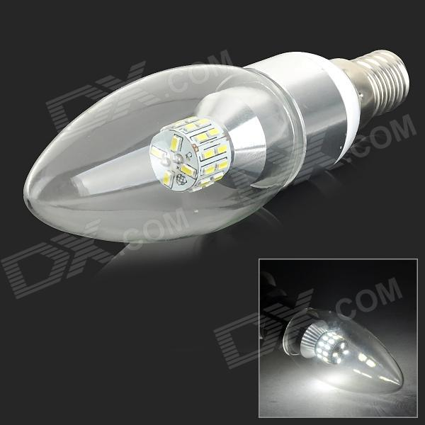 XUNRUIXING LZ-2015 E14 3W 270lm 6500K 30-SMD 3014 LED White Light Candle Bulb - Silver