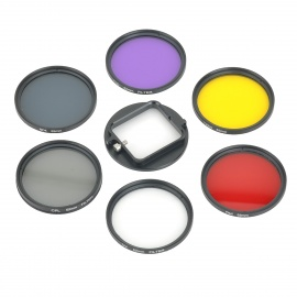 6-in-1 58mm UV / CPL / ND4 / FLD / Yellow / Red Filter Lens + Adapter Ring Set for GoPro HD Hero 3