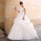 Women's Fashionable Fluffy Strapless Yarn Wedding Dress - White (Size L)