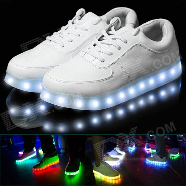 Fashion Men's 8-Color LED PU Shoes - White (Size 40) one time chip for mimaki lf140 0728 uv cartridge 7 colors cmyklclmwh printer parts