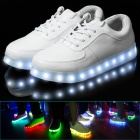 Fashion Men's 8-Color LED PU Shoes - White (Size 40)