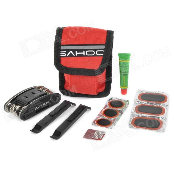 SAHOO 21042 Practical Portable Bike Bicycle Tire Repair Toolkit - Red + Black + Multi-colored