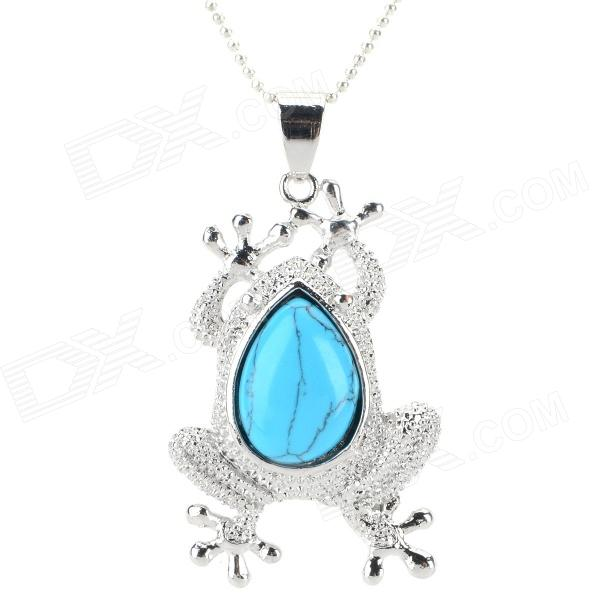 FenLu LSS16 Cicada Style Turquoise Pendant Necklace - Blue + Silver