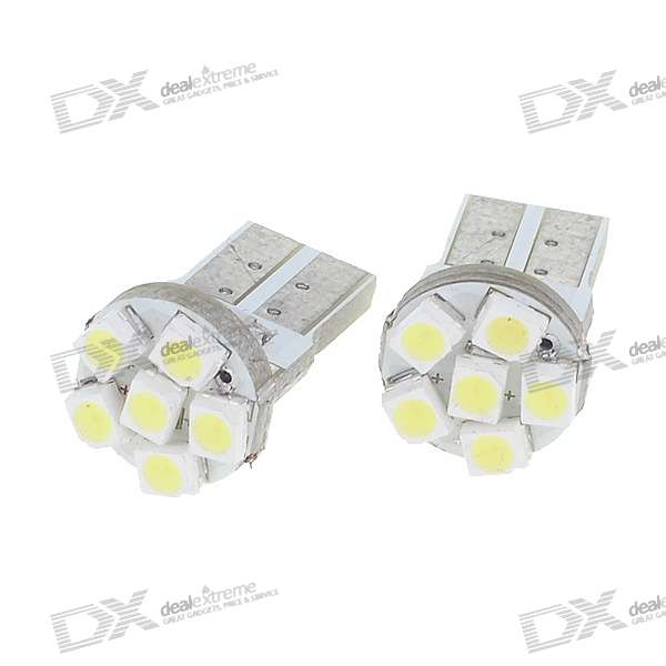 0.3W T10 1212 6-LED Vehicle Decoration/Signal White Lamp Bulbs (DC 12V/2-Pack) 2pcs car led license number plate light lamp for ford focus 2 c max white car light source