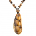 FenLu HYSJD02 Stylish Tiger's Eye Quartz Pendant Necklace - Brown + Silver