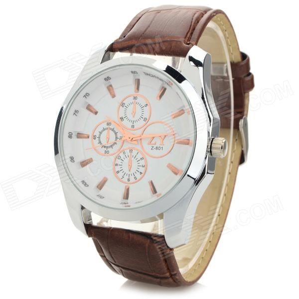 Zhongyi 801 Men's Fashionable PU Band Quartz Analog Wrist Watch - White + Brown (1 x 626)