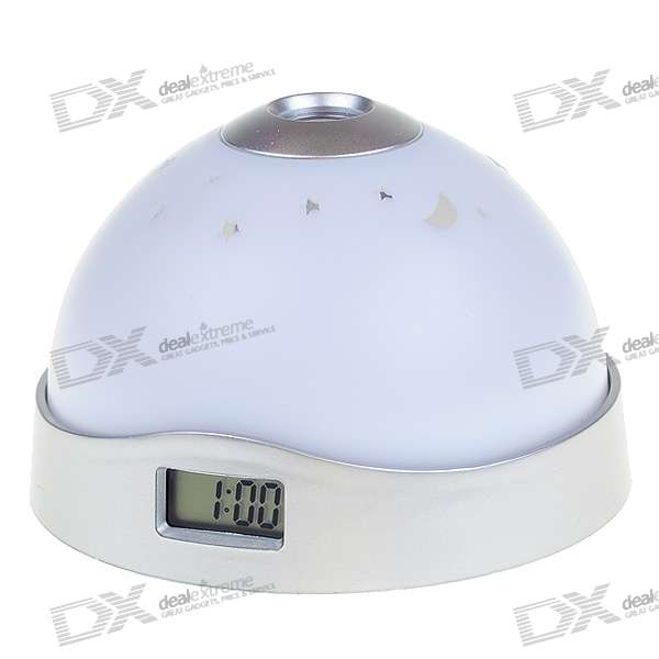 0.8 LCD Digital Clock with RGB Star Projection (3*AAA) novelty run around wake up n catch me digital alarm clock on wheels white 4 aaa
