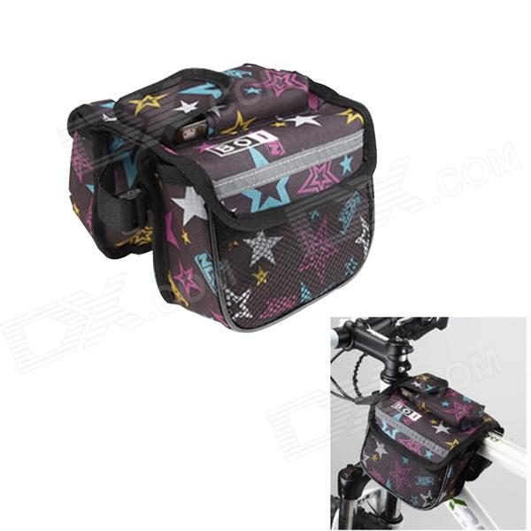 BOI 12898 Stylish Stars Patterned Bike Bicycle Frame Top Tube Double Bag - Multi-colored