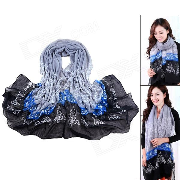 Women's Chinese Style Flowers Patterned Fashionable Cotton Scarf Muffler Cappa - Black + Blue