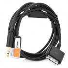 3-in-1 USB 3.5mm AUX Audio/Data/Charger Cable for iPod/iPhone 2G/3G/3GS - Black (1.2M)