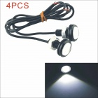 Kapeier 12V 6W 23mm 150lm 6000K White Light LED Car Eagle Eye Lamp - Black (4pcs)