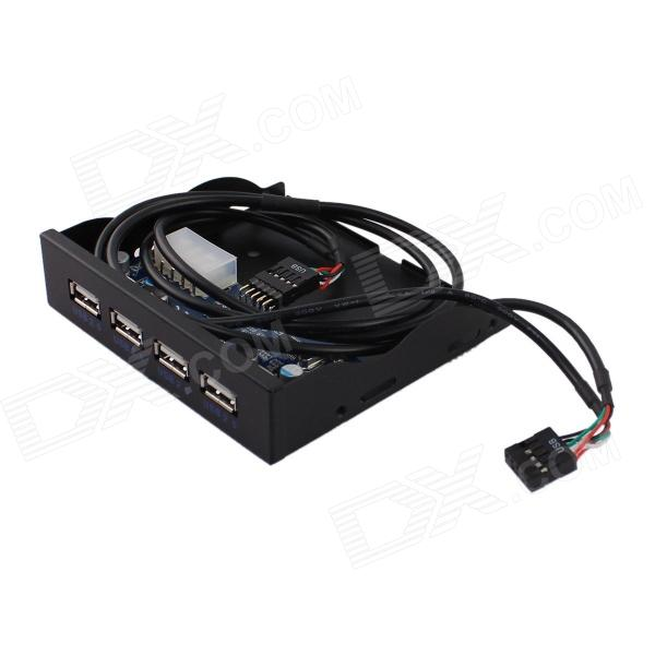 FFD-4USB-F01 4-Port USB 2.0 Socket 10-Pin Soft Drive Front Panel for Chassis - Black