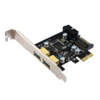 2-Port USB 3.0 + 1 x SATA Power Port + 20-Pin USB 3.0 Port SuperSpeed PCI-E Controller Card - Black