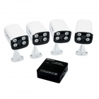 ESCAM K104 4-CH 1080P NVR + 4 x QD300 720P IP Cameras w/ 4-IR LED - White + Black (US Plug)