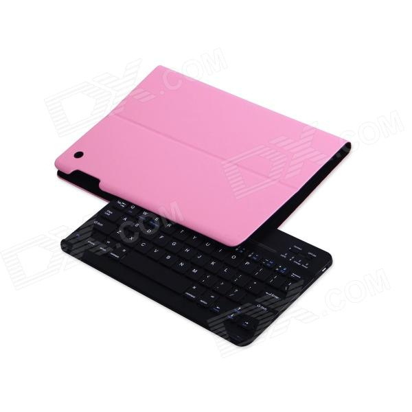 B.O.W Detachable Bluetooth V3.0 Keyboard w/ PU Leather Case for IPAD AIR - Pink + Black
