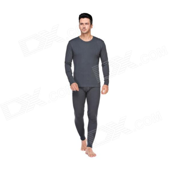 WQ-90 Men's Long Cotton Thermal Underwear Suit - Deep Grey (XL) di guo bao wang double sided with velvet men s thermal underwear suits grey size xl